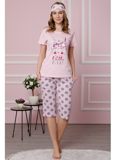 Akbeniz Kadın Pembe Pamuklu Cepli Kapri Pijama Takım 3511 Pembe